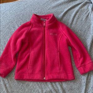 Toddler girls Columbia hot pink fleece jacket